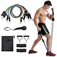 Resistance Band Set | 11 pc Resistance Band Set | Home Workouts | Exercise Stretch Fitness Home Set Stackable Up to 100…