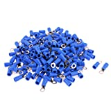 uxcell® 200pcs RV2-4 AWG 16-14 Blue Cap Non Insulated Ring Terminals Connector