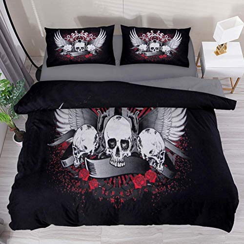 LvShen Skull Wings Bedding Sets Full Size Bed Coverlet Duvet Cover Set with 2 Pillow Cases Shams 3 Pieces Printed Sheets for Teen Boys Girls