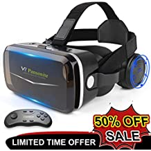 Pansonite Vr Headset with Remote Controller, 3D Glasses Virtual Reality Headset for VR Games & 3D Movies, Eye-Protected Lens for iPhone and Android Smartphones Within 4.7''-6.0''