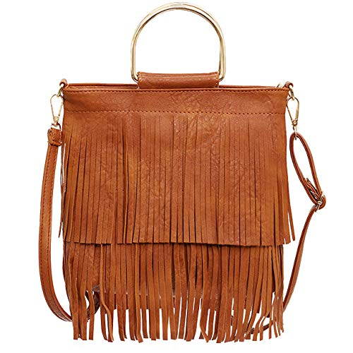 Ayliss Women Fringe Tassel Crossbody Bag Leather Shoulder Bag Hobo Handbag ()