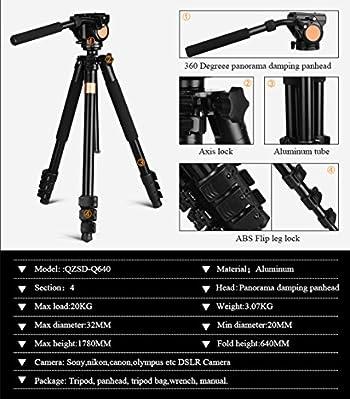 Q640 70Inch 20kg Big Load Capacity Camera Tripod for Telescope with Special Design Head 1/4 Thread Digital Tripod Kit for Nikon