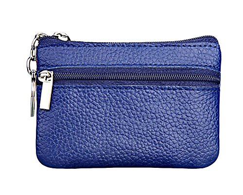 ETIAL Womens Genuine Leather Zip Mini Coin Purse w/Key Ring Blue