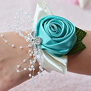 MOJUN Bridal Bridesmaid Wedding Wrist Corsage Hand Flower for Wedding, Party, Prom 56