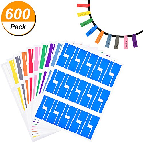 TecUnite 20 Sheets Self-Adhesive Cable Labels Waterproof Tear Resistant Cord Label Stickers, 600 Pieces Totally, 10 Colors (Cables Adhesive Self)