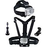 Smatree® Head Strap Mount+ Chest Belt Strap Harness Mount+Aluminum Thumbscrew+J-Hook for Gopro Hero Hero4 Hero3+ Hero3 Hero2 Hero1 and SJCAM cameras (Black)
