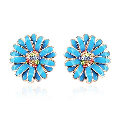Iuha 74 Beautiful Elegant Daisy Earrings With Colorful Crystal (blue)