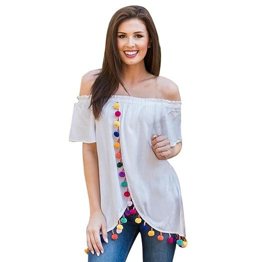 0f46ea14cb7069 Alixyz Women Blouse Off The Shoulder Tops Colorful Ball Tassel Irregular  Hem Casual T-Shirt