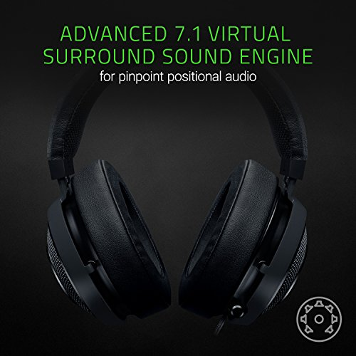 Razer Kraken 7.1 V2: 7.1 Surround Sound - Retractable Noise-Cancelling Mic - Lightweight Aluminum Frame - Gaming Headset Works with PC, PS4, Xbox One, Switch, Mobile Devices - Black