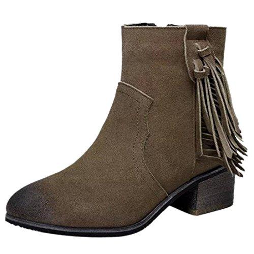 Suede Fruehling Winter Fleece dickem Holz Hochblockabsatz Fringe Schuhe Booties Stiefel Khaki