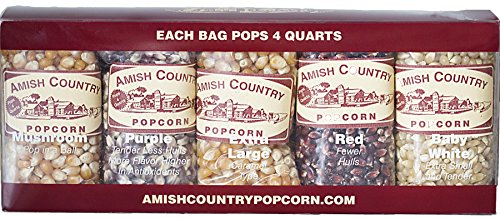 Amish Country Popcorn Variety Gift Set - 10 (4 oz) Popcorn Varieties - Each Pops 4 Quarts of Old Fashioned and Delicious Popcorn - with Recipe Guide and 1 Year Freshness Guarantee ()