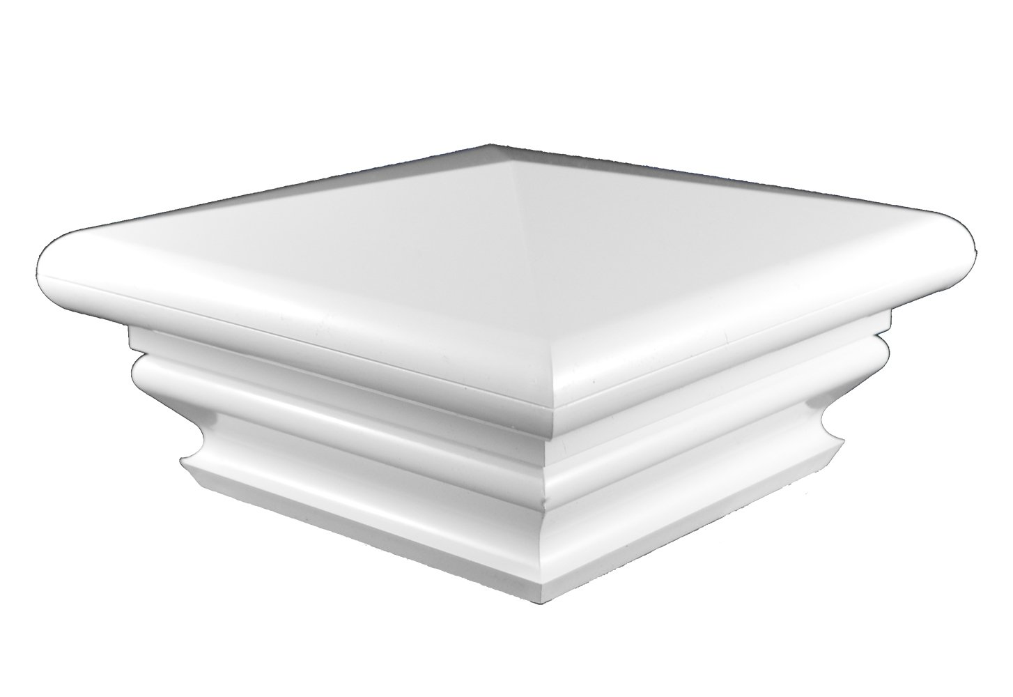 Durable White PVC Vinyl Federation Post Cap For A True 5 Inch X 5 Inch Post | Single Pack | AWCP-FED-5