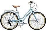 Gama Bikes Metropole Women 28-Inch Cielo Step Thru 8 Speed Shimano Hybrid Urban Commuter Road Bicycle, 19-Inch, Light Blue