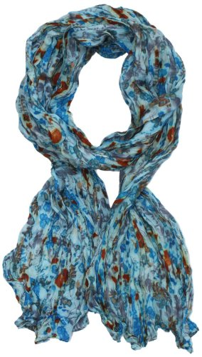 LibbySue-Wildflower Floral Print Scarf in Your Choice of Colors (Light Blue with Rust)