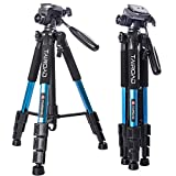 Tairoad Tripod 55' Aluminum Lightweight Sturdy Tripod for DSLR EOS Canon Nikon Sony Samsung Max Capacity 11lbs (Blue)