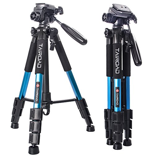 "Tairoad Tripod 55"" Aluminum Lightweight Sturdy Tripod for DSLR EOS Canon Nikon Sony Samsung Max Capacity 11lbs (Blue)"