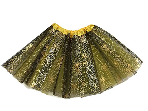 Spider Dance Costume (Rush Dance Ballerina Recital Halloween Yellow & Black Spider Webs Costume Tutu)