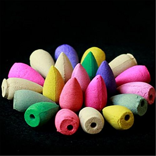 100 Pcs Backflow Natural Smoke Pagoda Indoor Incense Cone Bullet Aromatherapy Rose Lavender Jasmine - incensecentral.us