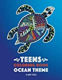 Teens Coloring Book: Ocean Theme: Zendoodle Sharks, Sea Horses, Fish, Sea Turtles, Crabs, Octopus; Detailed Drawings For Relaxation, Anti-Stress ... For Older Kids, Teenagers & Young Adults