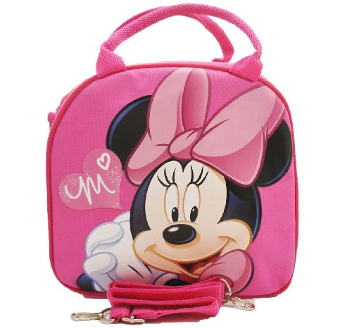 Minnie Mouse Lunch Box - 1 X Disney Minnie Mouse Lunch Box Bag with Shoulder Strap and Water Bottle