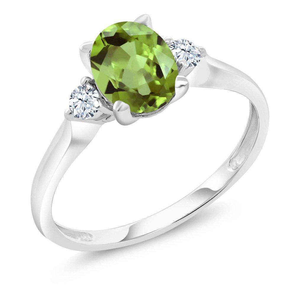 10K White Gold Green Peridot and White Created Sapphire 3-Stone Women's Ring 1.43 Ct (Size 7)