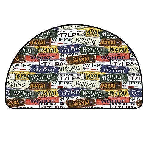 "YOLIYANA USA Doormat,Retro American Auto License Plates Utah Washington Rhode Island North Carolina Print Entryway Mat,11.8"" H x 23.6"" L"