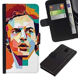 ZCell / Samsung Galaxy Note 3 III / Polygon Art Retro Man Poster Guy / Caso Shell Armor Funda Case Cover Wallet / Polígono arte retro homb