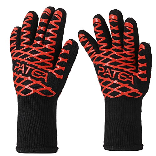 BBQ Gloves,Grill/Cooking Gloves,PATEA 100% Cotton Lining,Heat Resistant Gloves Withstand Heat Up To 932℉ for Oven Gloves/Oven Mitts and BBQ Mitts,Chef Supplies,Perfect for Baking,Barbecue(1 Pair ) Chefs Barbecue Mitts