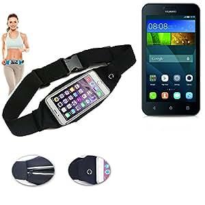 Cinturón de bandolera bolso de la cintura bolsa para Huawei Y5 Dual SIM, negro. Aptitud del deporte de la cubierta a prueba de lluvia Ejercicio corriente - K-S-Trade (TM)