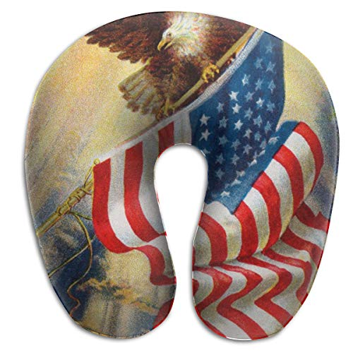 American Flag Vintage Bald Eagle Memory Foam Travel Neck Pillow Portable Cervical U Pillow Camping