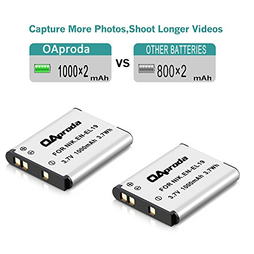 S4100 S3700 S6800,S7000 Digital Camera S3200 OAproda 2 Pack EN-EL19 Battery and Rapid USB Charger for Nikon Coolpix S32 S33,S100 S2800 S3600 S3300 S3100 S3500 S4300,S5200,S5300,S6500 S4200