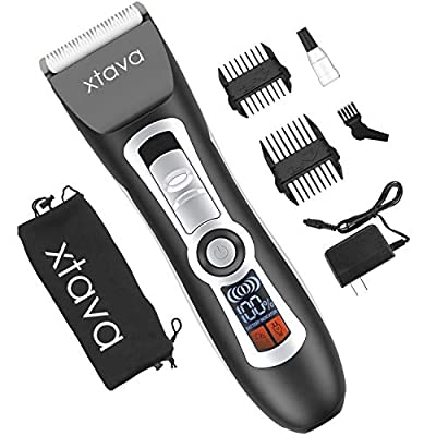 xtava Cordless Electric Men's Beard and Hair Trimmer Clippers - 4.5 Hour Battery, LCD Display, Titanium and Ceramic Blades - Includes Length Guide Combs, Storage Bag, and Charging Adapter
