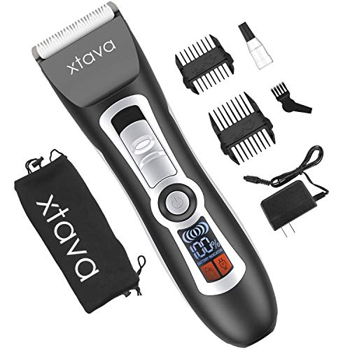 xtava Pro Cordless Beard Trimmer for Men and Hair Clippers – 4.5 Hour Long Life Battery, LCD Display, Titanium and Ceramic Blades – Includes Length Guide Combs, Storage Bag, and Charging Adapter