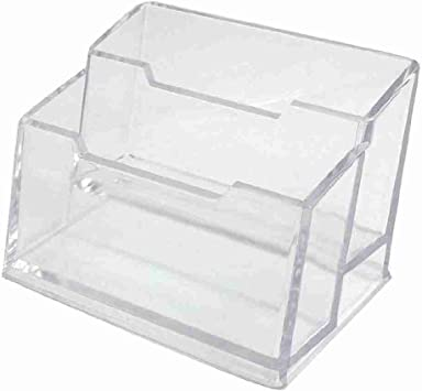 Mover y moviéndose™ 2 capas Rectángulo transparente plástico duro tarjetero caja: Amazon.es: Oficina y papelería