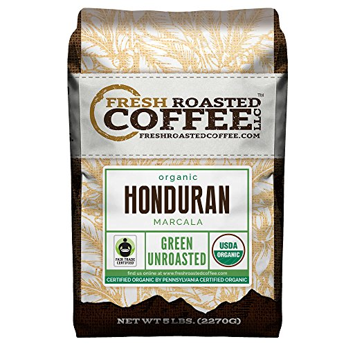 Green Unroasted Coffee Beans, 5 LB. Bag, Fresh Roasted Coffee LLC. (Organic Honduran Marcala Fair Trade)