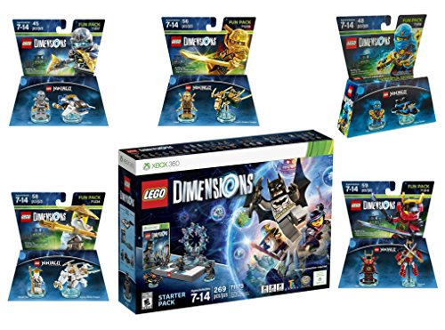 Lego Dimensions Ninjago Starter Pack + Jay + LLoyd + Nya + Zane + Sensei Wu Fun Packs for Xbox 360 Console by WB Lego