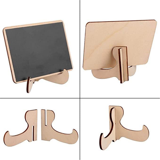 BonTime 10er Mini Tafel Rechteck Tafel mit St/änder aus Holz Message Board