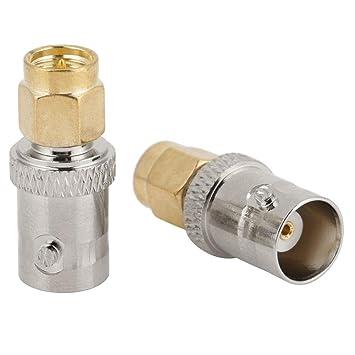 2pcs BNC Hembra a SMA Tipo Macho Conector RF Antena Adaptador ...