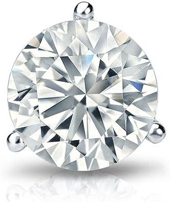 1//8-1 ct, Good, I1-I2 14k White Gold Bezel-set Round Diamond Mens SINGLE STUD Earring Screw-Back