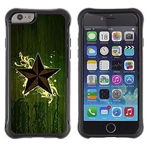 All-Round híbrido Heavy Duty de goma duro caso cubierta protectora Accesorio Generación-II BY RAYDREAMMM - Apple iPhone 6 - Star Symbol Art Nature Green Eco Mystical