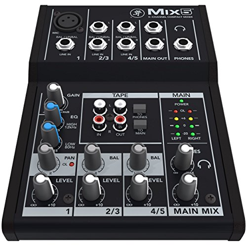 Premier Analog - Mackie 5-Channel Compact Analog Mixer (Mix5) with 1/8 TRS Male to Two 1/4 TS Male Cable 3 Feet & Premier Series XLR Male to XLR Female 16AWG Cable Gold Plated - 15'
