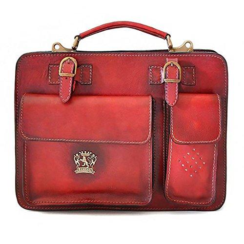 (Pratesi Unisex Personalized Custom Initials Embossing Italian Leather Milano Medium Business Briefcase in Chianti )