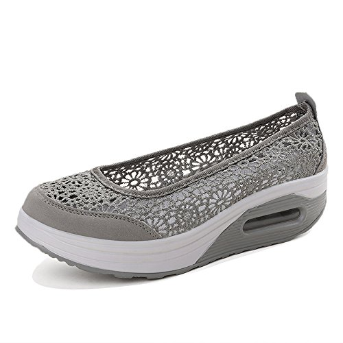 Enllerviid Kvinnor Slip-on Toning Promenadskor Mode Blommig Spets Plattform Sneakers 9001 Grå