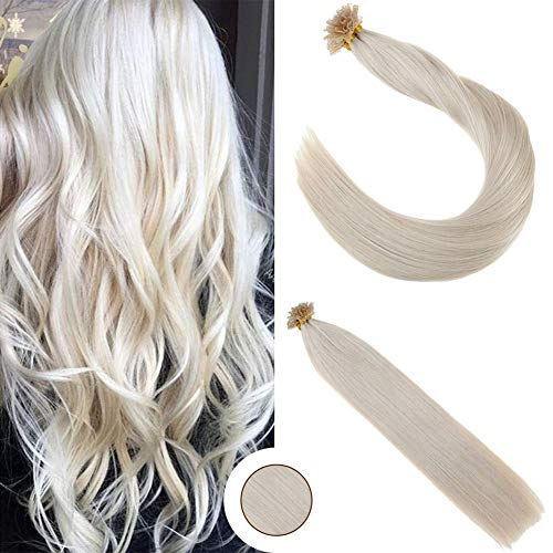 Ugeat 16 inch 50Strand U Tip Human Hair Extensions Pre Bonded Fusion Hair Solid Color #60 Platinum Blonde Pre Bonded Human Hair Extensions Nail Tip Extensions Remy Human Hair