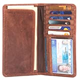RAWHYD Long Leather Bifold Wallet for Men |Checkbook Cover Or Suit Jacket Wallet (Hunter Brown)