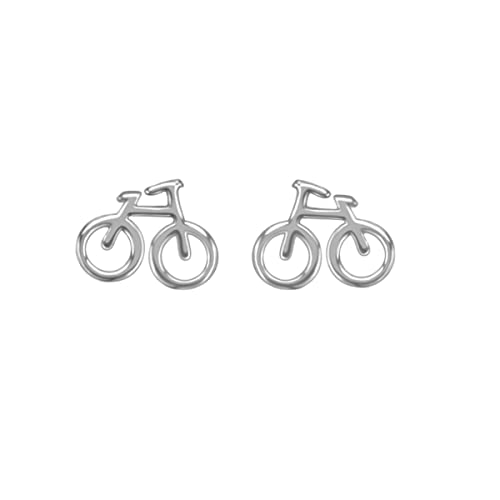 WRISTCHIE Womens 925 Sterling Silver Bicycle Bike Stud Earrings PEyZk