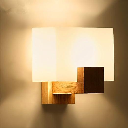 GGRXA Apliques modernos decorar las paredes de madera de luz LED Lámpara de pared de madera maciza Salón Dormitorio Pasillo Escalera Lampara de pared: Amazon.es: Iluminación