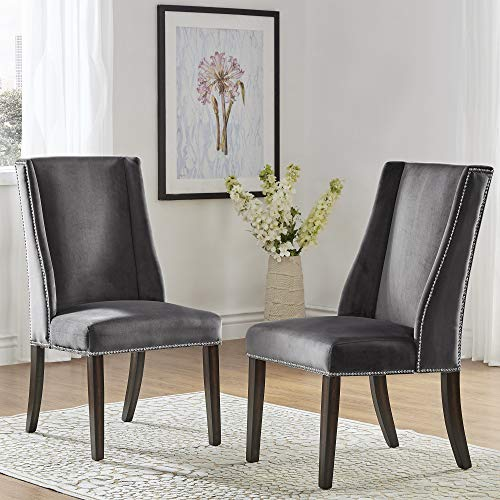Inspire Q Geneva II Velvet Wingback Hostess Chairs (Set of 2) by Bold Charcoal
