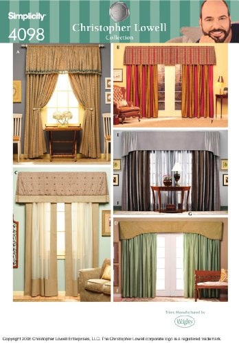 Simplicity Sewing Pattern 4098 Home Decorating, One Size Sewing Patterns Drapes