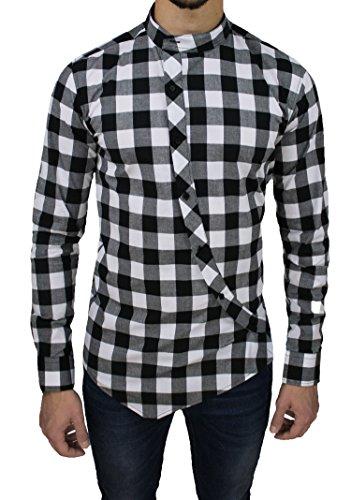 Camicia uomo cotone slim fit nero bianco quadri casual con colletto coreana e bottoni trasversali